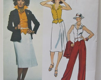 676c32ae90 American Designer Anne Klein Lined Tailored Jacket Vest Skirt And Pants  Size 10 Sewing Pattern Vogue 1479