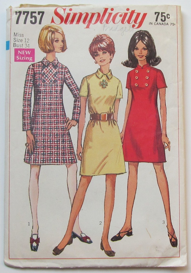 A line Dress With High Round Neckline Back Zipper Size 12 Sewing Pattern Simplicity 7757