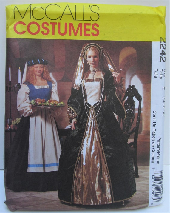 Renaissance Gown Medieval Dress Cosplay Elizabethan Historical Plus Size 14  16 18 Sewing Pattern McCall's 2242 Adult Costume