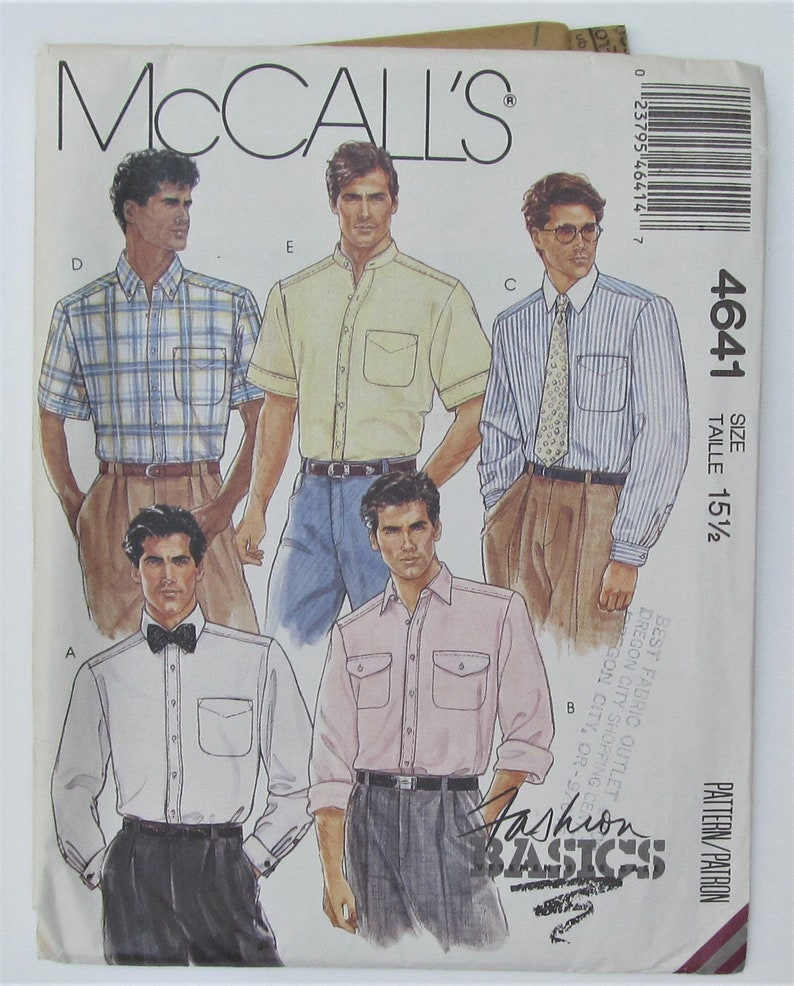 1e235cb25eaba Men's Shirt Buttoned Front Band Collar And Sleeve Variations Menswear Size  15 1/2 Sewing Pattern McCall's 4641