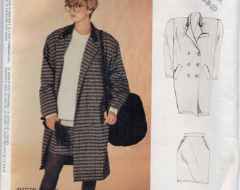 Double Breasted Coat With Collar Partially Lined Shoulder Pads And Straight Skirt Size 6 8 10 Sewing Pattern 1987 McCalls 3381