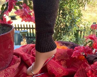 Long baby tulips leg warmers 100/% alpaca wool chocolate brown