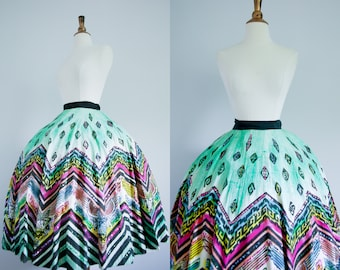14f5e08a3f 1950s RARE Novelty Mexican Painted Circle Skirt // 50s Cotton Aztec Printed  Full Skirt