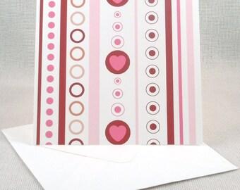 Heart shaped bullseye valentine set of 6 valentine pattern greeting card altavistaventures Image collections