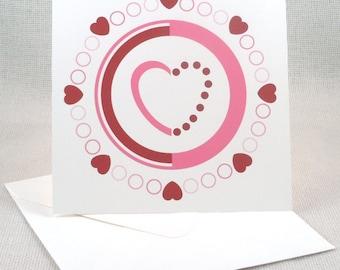 Heart shaped bullseye valentine set of 6 heart shaped bullseye valentine sgd 563 circular valentine pattern greeting card set of 6 altavistaventures Image collections