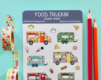 Food Truck Sticker Sheet   Weatherproof Stickers   Planner Stickers   Stationery Sticker   Journaling Stickers   Food Stickers