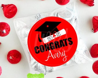 Graduation Favor Stickers - Personalized Graduation Stickers - Custom Graduation Stickers - Class of 2018 - Emailed or Shipped Stickers