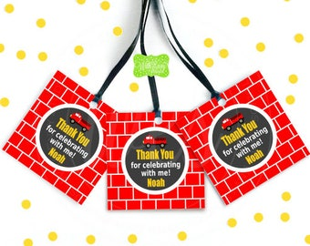 Firetruck Favor Tags - Red Firetruck Gift Tags - Firetruck Thank You Tags - Firetruck Birthday Tags - Digital & Printed Available