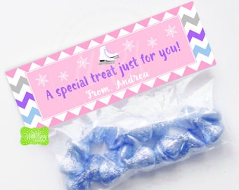 Ice Skating Treat Bag Topper - Personalized Skating Treat Bag Topper - Ice Skating Topper - Skating Favor Bag - EMAILED or SHIPPED Toppers