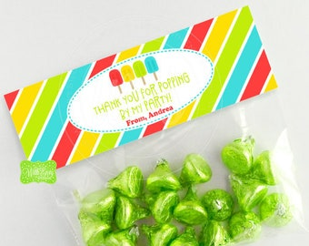 Ice Pop Treat Bag Topper - Personalized Treat Bag Topper - Ice Pop Bag Topper - Ice Pop Favor Bag - EMAILED or SHIPPED Toppers