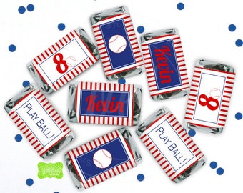 Baseball Chocolate Bar Wrappers -  Baseball Candy Bar Wrappers -  Baseball Party Favor - Baseball Candy Labels - Digital or Printed Wrappers