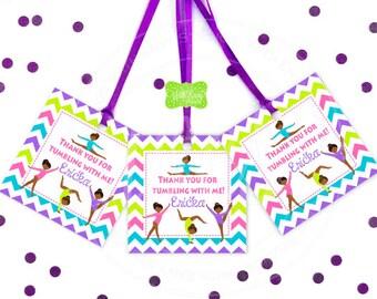 Gymnasitcs Favor Tags - Gymnastics Thank You Tags - Gymnastics  Gift Tags - Tumbling Favor Tags - Digital & Printed