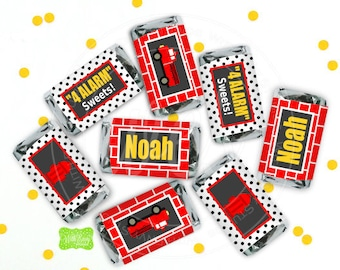 Firetruck Chocolate Bar Wrappers -  Firetruck Candy Bar Wrappers - Firetruck Party Favors - Firetruck Candy Labels - Digital or Shipped