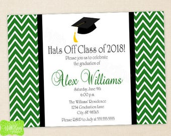 Graduation Party Invitation - Graduation Announcement - Graduation Invite - Class of 2018 - Digital or Printed Available