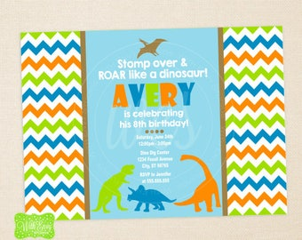 Dinosaur Party Invitation - Dinosaurs Birthday Invite - Chevron Birthday Invitation -  Dinosaur Party - DIGITAL and PRINTED Available