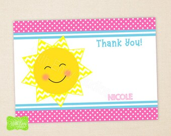Sunshine Thank You Card - Sun Note Card - Personalized Thank You Card - Fill-in or Blank Thank You - Emailed or Shipped Available