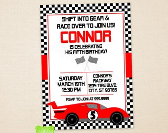Race Car Party Invitation - Race Car Birthday Invite - Race Car Invitation - Car Invitation - Racing Invite - Digtal & Printed Available