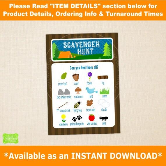 Camping Scavenger Hunt Printable Scavenger Hunt Card Etsy