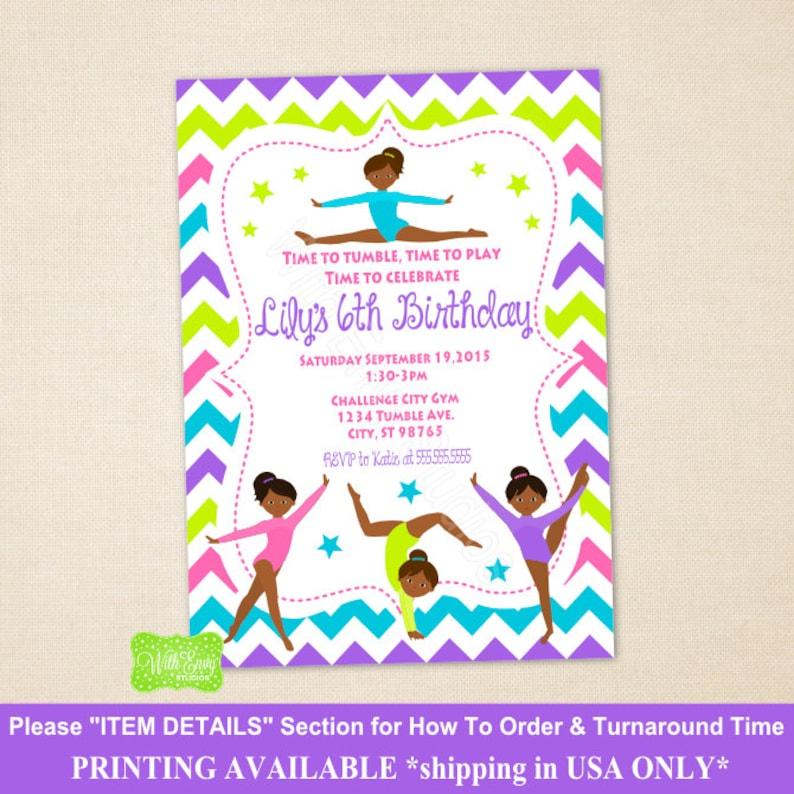 Gymnastics Party Invitation Gymnastic Birthday
