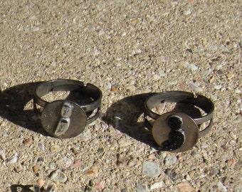 Semi-colon Adjustable Round Ring (antique silver)