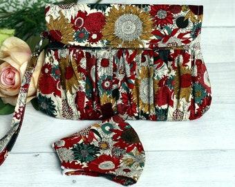 Burgundy pleated clutch purse, clutches & evening bag, bridesmaid gift, weddings, cotton clutch, handmade cotton, burgundy clutch purse,
