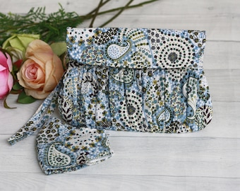 Blue paisley clutch purse with matching face mask, gift idea for her, clutch for women, Pleated clutch purse, cotton clutch, blue wristlet