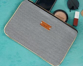 Clutch Purse, stripe canvas clutch bag, black and white clutch purse, summer clutch, gift for her, monochrome bag, summer clutch