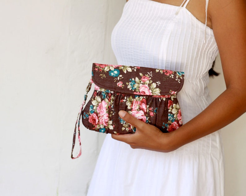 Classic Brown Floral Clutch image 0