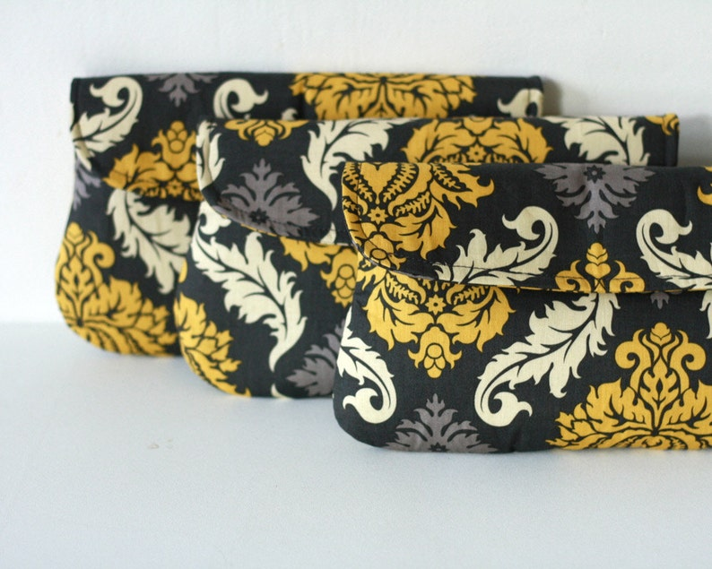 Set of 3  Wedding Clutch/ Bridesmaid Gift Damask in yellow image 0