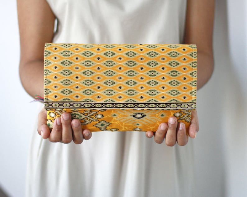 Envelope Clutch in Yellow Batik print Cotton clutch Clutch image 0