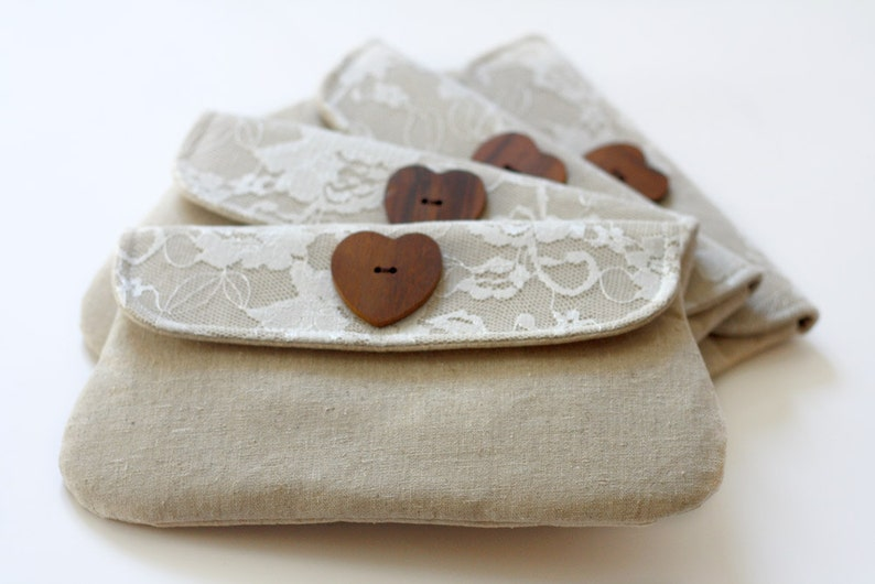 Bridesmaid clutch Linen and Lace set of 4 bridesmaid gift image 0