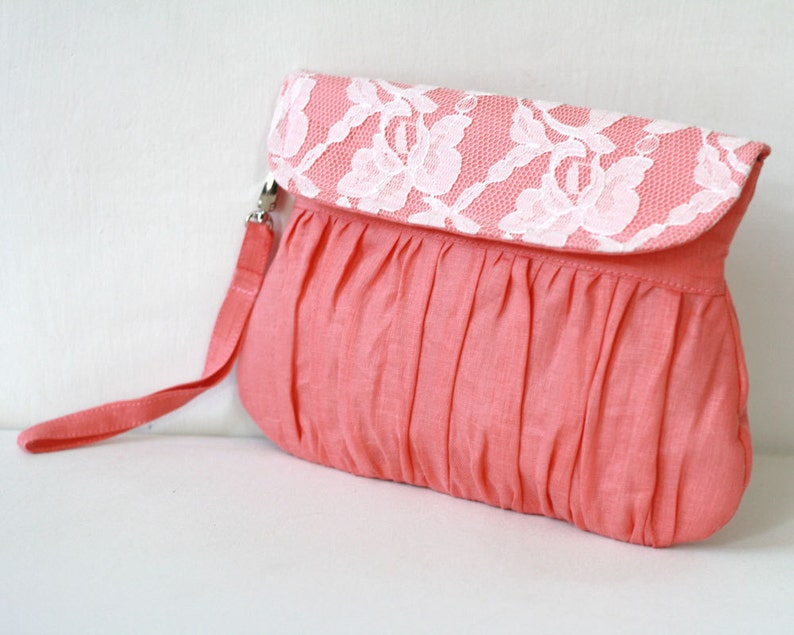 Linen and lace clutch coral and ivory  bridal clutch  image 0