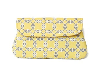 Yellow Clutch, medallion in yellow and gray, simple clutch purse