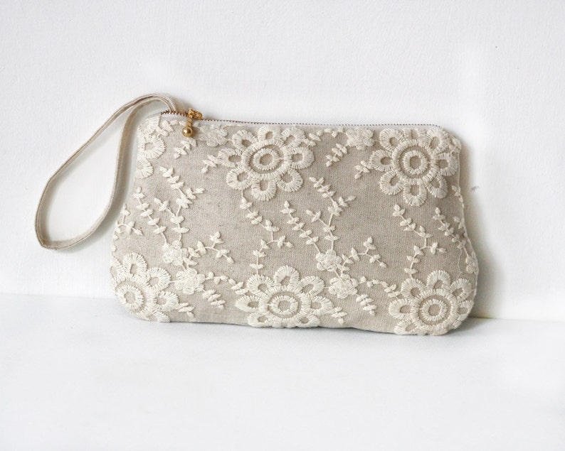 Linen and Lace zippered clutch purse with gold metal zipper image 0