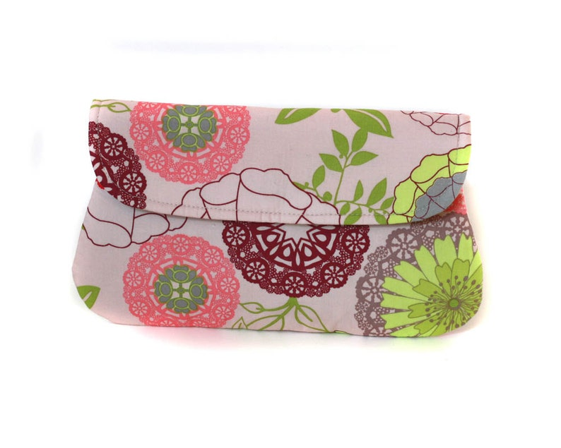 Cotton clutch. Pink purple and green doily printed clutch image 0