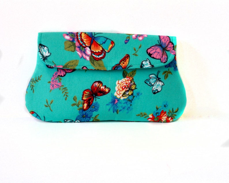 Butterfly Clutch Turquoise casual clutch summer clutch image 0