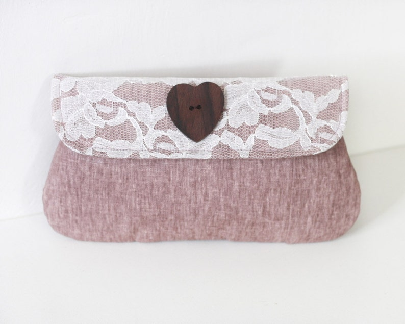 Lace Clutch Bridesmaid gift Linen and lace clutch purse image 0