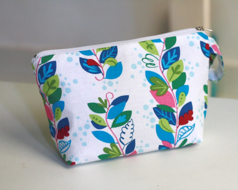 Cosmetic Pouch Colorful Vine zippered make up bag make up image 0