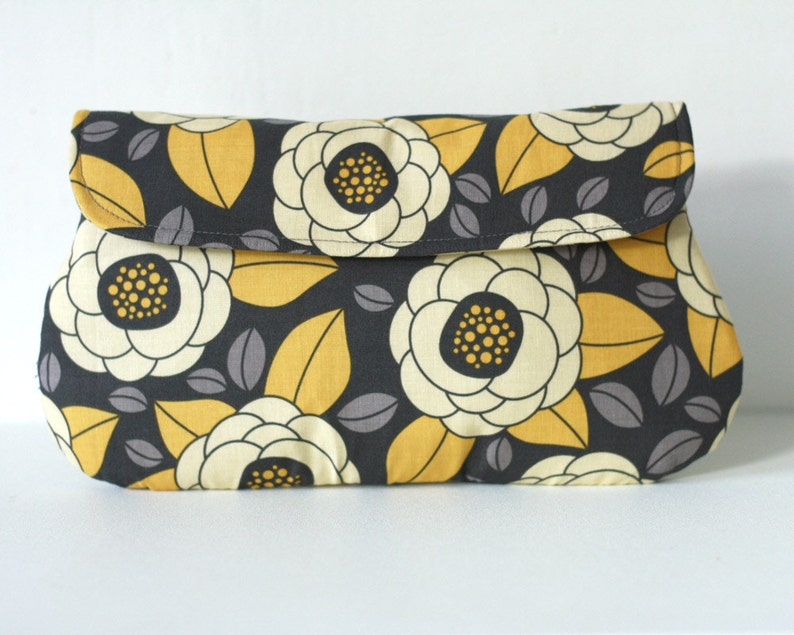 Bridesmaid Clutch in Yellow and Gray  Bloom in Granite image 0