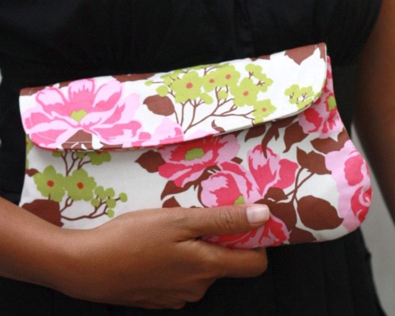 Pink Floral Clutch Clutch Purse Padded Pouch  Rose Bouquet image 0
