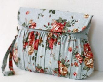 Shabby Chic Clutch, Bridesmaid clutches, Blue rose floral wristlet purse