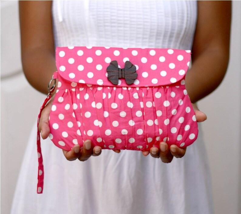 Pink Polkadot Valentine Gathered Clutch Purse image 0
