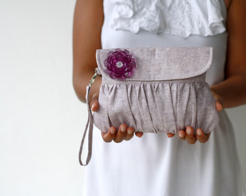 Bridesmaid gift or bridesmaid clutch Purple Linen Clutch image 0