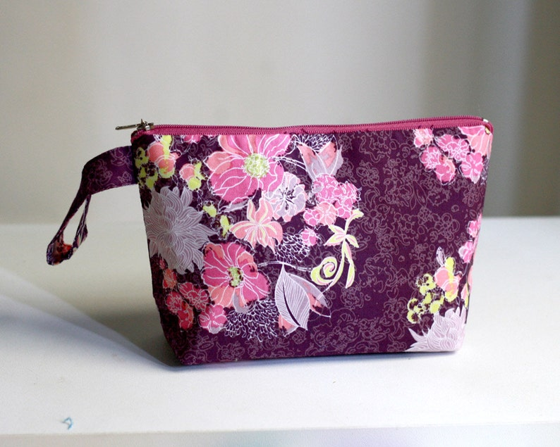 Floral Purple Pouch make up bag cosmetic case zippered image 0