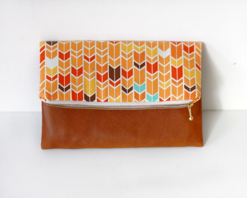 Fold over clutch cotton and vegan leather clutch purse image 0