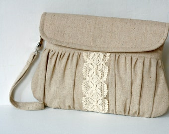 Linen and lace clutch purse, rustic wedding clutch, bridesmaid gift, bridesmaid bag, wedding clutch bag, linen and lace wristlet pouch