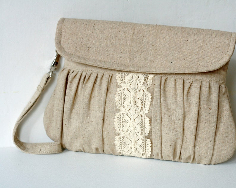 Rustic style linen and lace clutch  bridesmaid gift  wedding image 0