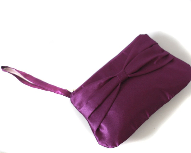 Bridesmaid clutch purple satin with bow and hidden strap image 0