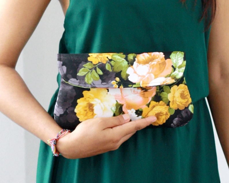Cotton clutch black and yellow flower bridesmaid clutch image 0
