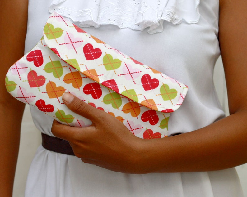 Heart simple clutch  padded clutch  love clutch  Pink image 0